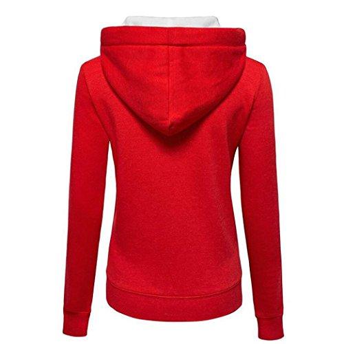Femmes Jumper À Capuche Veste Sweats Rouge Manteau Éclair Pull Sweatershirt Esailq Chaud Fermeture Arborer FHYqxg