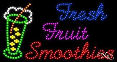 17x32x1 inches Fresh Fruit Smoothies Animated Flashing LED Window Sign