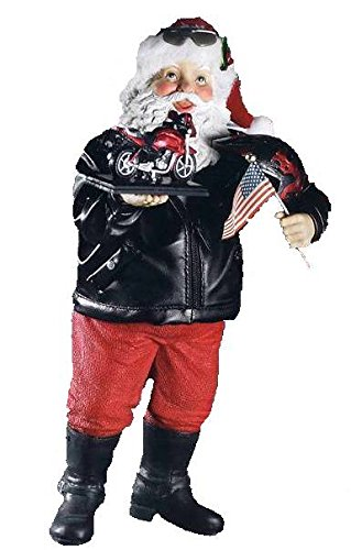 Retired 2011 Kurt Adler Fabriche *Motorcycle Santa* Patriotic Ready to Ride ()
