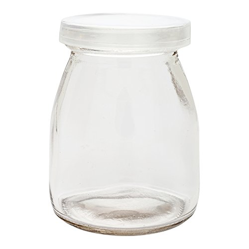5-OZ Glass Jars for Yogurt, Milk, Parfait, and Pudding: Perfect for Bakeries, Buffets, Breakfast Bars, and Restaurants – Yogurt Maker Glass Replacement Jars with Plastic Cap – 100-CT – Restaurantware by Restaurantware (Image #1)
