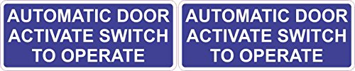 [2X] 5 x 2 Automatic Door Activate Switch to Operate Stickers Vinyl Signs