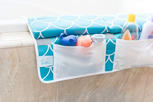 Baby Bath Kneeling Pad with Elbow Rest - Extra Long - Mermaid Design in Teal Blue - with Bonus Mesh Bath Toy Organizer - Wonderful Gift Set for Parents with a Infant, Toddler - by Fins + Tales (Image #3)