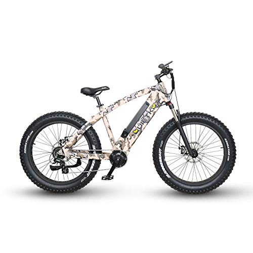 QuietKat Ambush 750W Electric Bike for Backcountry, Hunting and Fishing - Bafang Mid Drive Motor, 8-Speed Gear, Mechanical Disc Brake - Camo, 19
