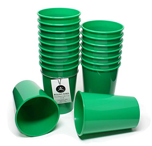 Rolling Sands 12oz Reusable Plastic Kids Cups Green (Set of 18, Made in USA, BPA-Free) Dishwasher Safe ()