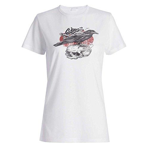 Schädel-schwarzer Vogel-lustige Neuheit Neu Damen T-shirt k87f
