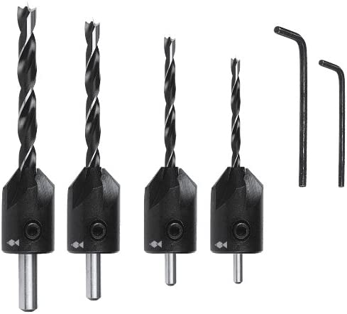 Fisch FSH-134800 Drill//Countersink Set and 1//2-Inch//6mm 1//8-Inch//3mm 5//32-Inch//4mm 3//16-Inch//5mm