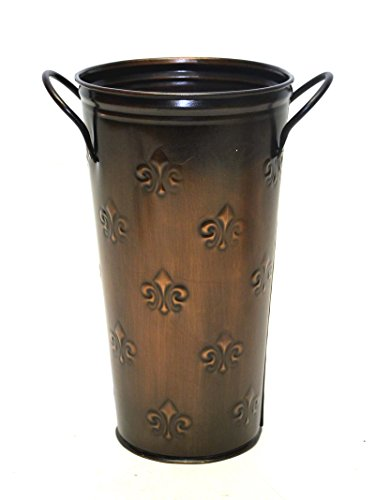 French Flower Bucket, Copperized Tin, Fleur De Lis Pattern-10 Inches High X 5.5 Inches (Smith & Hawken Pots)