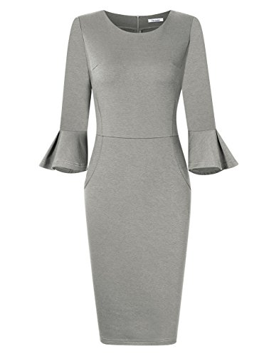 Gray Cocktail - GlorySunshine Women 3/4 Flare Bell Sleeves Work Bodycon Pencil Dress Vintage Cocktail Party Dresses (M, Gray)