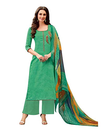 Ladyline Womens Lawn Cotton Salwar Kameez Embroidered with Pants & Chiffon Dupatta