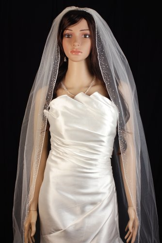 Bridal Veil Ivory 1 Tier Cathedral Length Edge With Beads And Crystals by Velvet Bridal (Image #4)