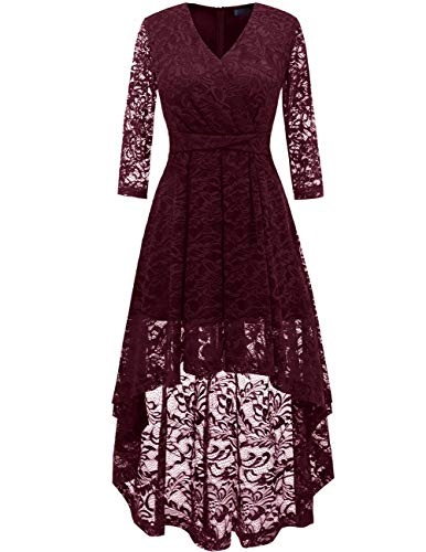 (DRESSTELLS Women's Bridesmaid Dress Hi-Lo Floral Lace Cocktail Party Dress with Sleeves Burgundy XL)