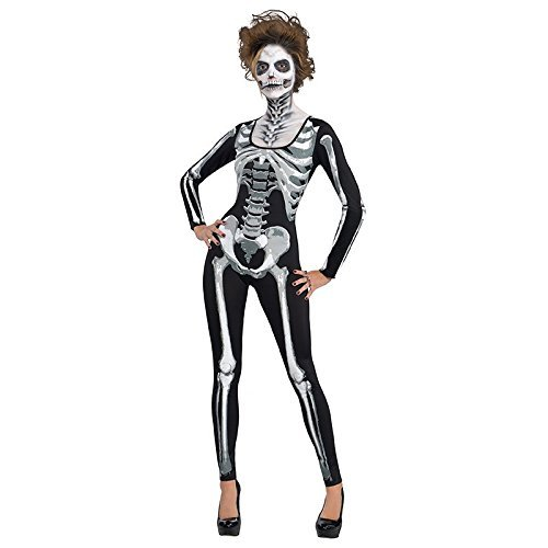 Amscan & Bone Catsuit- Skeleton for Women, One Size, Black ()