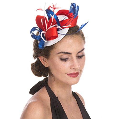 SAFERIN Fascinator Hat Feather Mesh Net Veil Party Hat Flower Derby Hat Clip  Hairband Women 35ff0c89a939