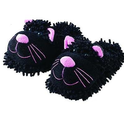 Amazon.com | Aromahome Fuzzy Feet Slippers Black Cat | Slippers