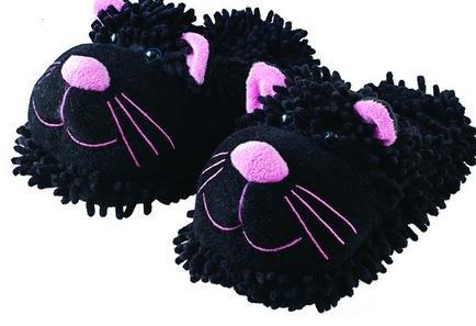 Aromahome Fuzzy Voeten Pantoffels Zwarte Kat Zwarte Kat