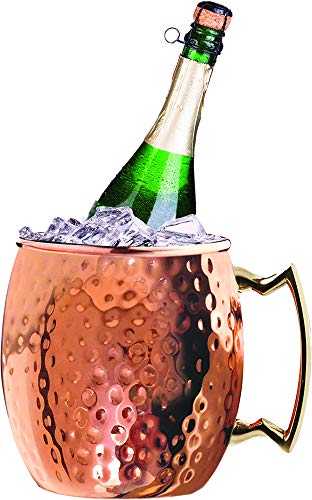 Silver One Stainless Steel Moscow Mule Hammered Wine Cooler/Chiller, Champagne & Whiskey Ice Bucket - 3 Quarts ()