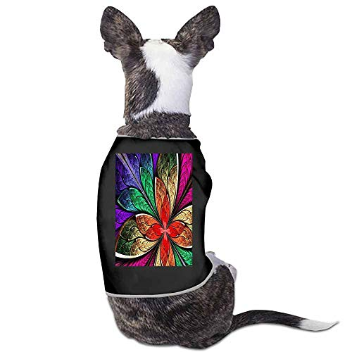 Dog Jacket,Beautiful Multicolored Fractal Flower in Stained Glass Clothes Pet Dogs Coat for Autumn and Winter - Glass Songbirds Stained