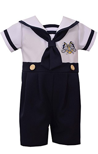 Bonnie Jean Boys Sailor Suit Outfit Nautical Boys Coverall (12 months) ()