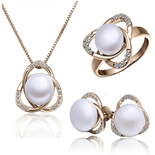 Rurah Women Imitation Pearls Jewelry Set Bread Pearl Pendant Necklace Ring Stud Earrings Jewelry Set ,Rose gold color