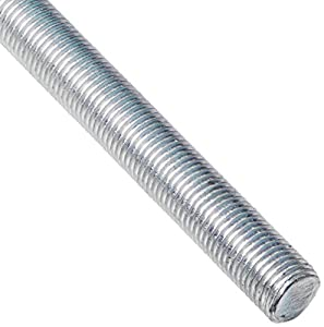 "Steel Fully Threaded Rod, Zinc Plated, 3/8""-24 Thread Size, 24"" Length, Right Hand Threads"