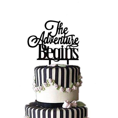 Party Supplies The Adventure Begins Acrylic Black Cake Topper,Wedding Baby Shower Graduation Brial Shower Engagement Party - Cake Wedding Toppers Black
