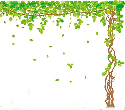 "SWORNA Nature Series SN040 Lovely Large Green Tree Removable Vinyl DIY Wall Art Decor Decal Mural Sticker Kids Baby Nursery Living/Sitting Room Playroom Kindergarten Bedrooom Study Hallway 79""H X 91""W"