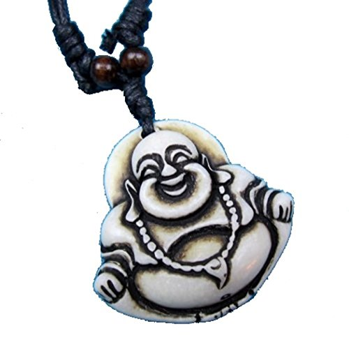 Gifts by Lulee, LLC Adjustable Black Mariners Cord Necklace with Unique Yak Bone Carving Maitreya Buddha Pendant 1
