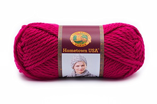 Lion Brand Yarn 135-103 Hometown USA Yarn, Baton Rouge Fuchsia (Yarn Rouge)