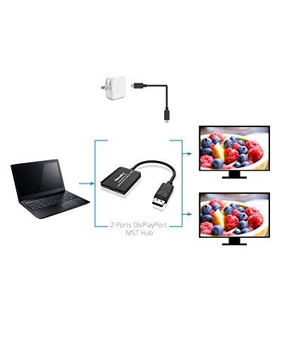 Sample Splitter - XtremPro 2 Ports DisplayPort MST Hub Splitter Support HDCP, SST, and Extended MST, 3840x2160P@30Hz - Black (61072)