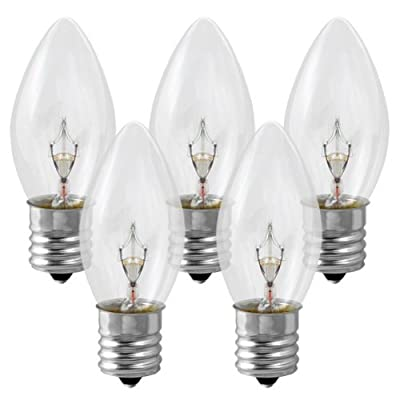 **25 Pack** 7 Watt C9 Clear Incandescent Light Bulb, Intermediate Base