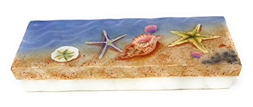 Kubla Craft Capiz Shell Keepsake Box, Seashells on Beach, 9 Inches X 3 Inches