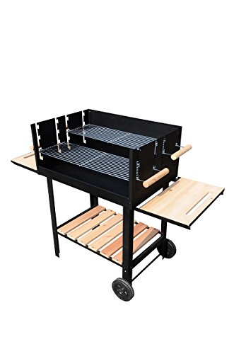 Outsunny Multi-function Patio Outdoor Free Standing Barbecue Grill Trolley Smoker Combo for Garden Charcoal BBQ Party Picnic with Wheels Black