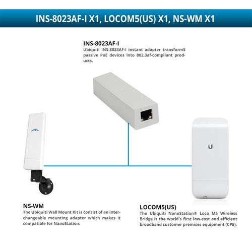 Ubiquiti NanoStation Loco M5 Wireless Bridge with NS-WM Wall Mount Kit and INS-8023AF-I Instant 802.3af ()