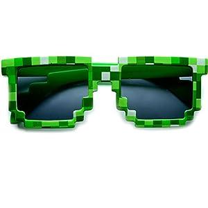 Block 8-bit Pixel Sunglasses Video Game Geek Party Favors (Pixel-Green, Black)