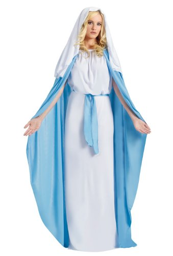 Fun World Costumes Women's Adult Mary Costume, White/Blue, One Size]()