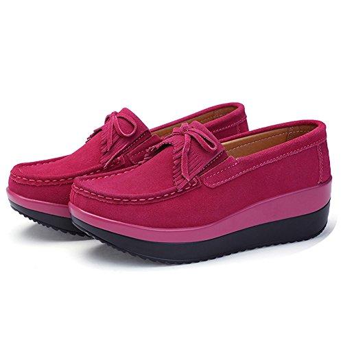 STQ Women Platform Wedges Tassel Loafers Comfort Work Slip On Fringe Suede Moccasins Shoes Rosy yy2PtZ8