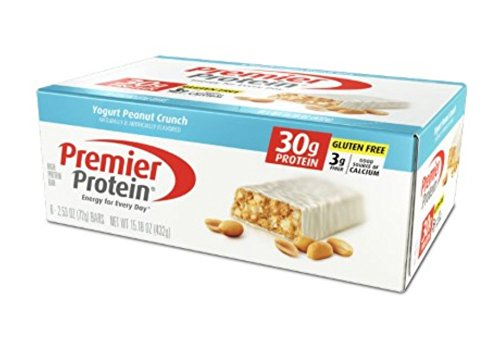 Premier Protein Nutrition Bar, Yogurt Peanut Crunch, 30g Protein (Pack of 6)