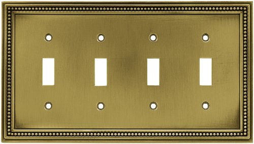 BRAINERD 64773 Beaded Quad Toggle Switch Wall Plate/ Cover, Tumbled Antique Brass