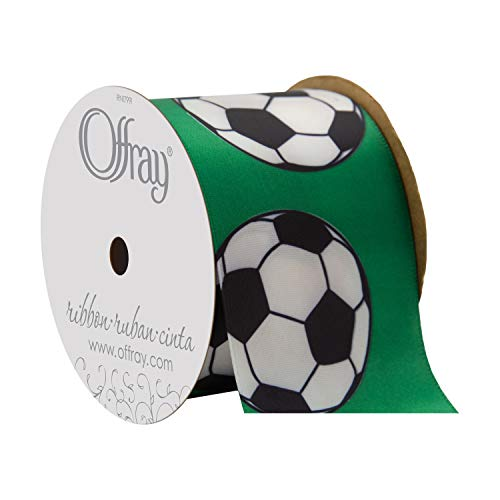 "Offray Berwick 2.25"" Soccer Single Face Satin Ribbon, White and Green, 3 Yds"