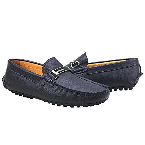 Scarpe di Uomo Casual Scarpe Shenduo Uomo Mocassini Blu D7167 Liscia Pelle Loafers I8HC7qw