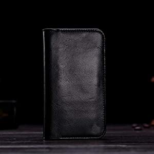 Realtech Rich Leather Mobile Pullup Pouch with Wallets Case Cover for OnePlus 9 – Black