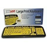 New and Improved: EZSee by DC - Large Print Computer Keyboard USB Wired (Yellow Keys with Black Jumbo Oversized Print Letters) for Visually Impaired Individuals, Low Vision, or Low Light for Seniors and People with Bad Vision! Imposing Vivid Black Over-sized Letters on Yellow Background Tested to Deliver the BEST CONTRAST for the Visually Challenged Persons