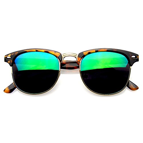 Retro Fashion Half Frame Flash Mirror Lens Semi Rimless Horned Rim Sunglasses (Tortoise Green, 49)