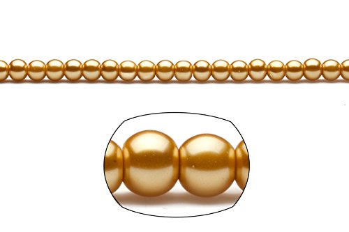 6mm round metallic-tone gold glass pearls 2x32inch (Blue Moon Glass Round Pearls)
