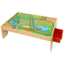 Bigjigs Rail Wooden Train Table with Drawers