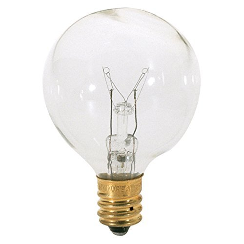 Satco 25G12 1/2 Incandescent Globe Light, 25W E12 G12 1/2, Clear Bulb [Pack of 12]