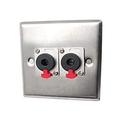 "Yootop 6.35mm 1/4"" Female Locking Style Audio Socket Wall Panel Mount Double Jack Socket Stereo Mono and TRS"