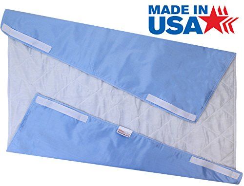 34 x 36 - Premium Incontinence Washable Underpad with Handles / Reusable Bed Pad Mattress Protector with Straps - Blue Backing with White Top
