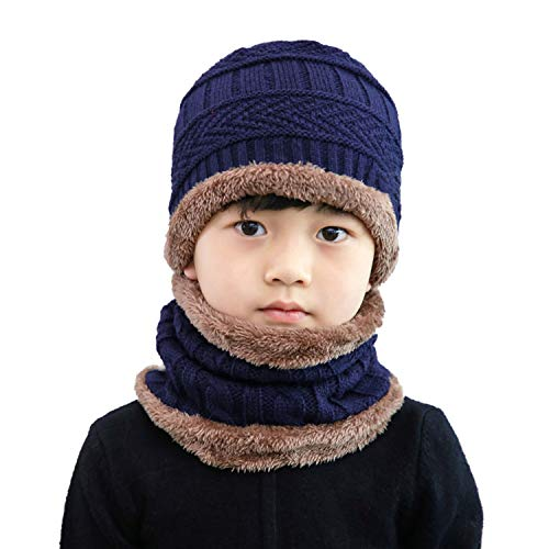 Folamer Kids Winter Hat Scarf Set, 2-Pieces Warm Lining Knit Snow Ski Beanie Cap and Neck ()