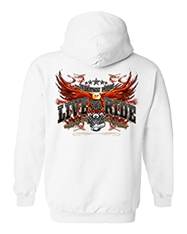Unisex Zip-Up Hoodie American PRIDE Flaming Eagle Live To Ride WHITE (XL)